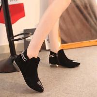 2019秋季短靴新款欧美时尚金属尖头绒面短靴女粗跟低跟马丁靴 黑色 35