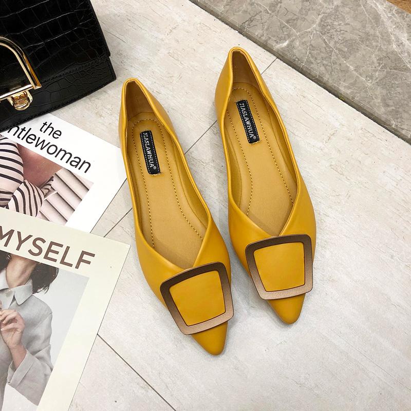 单鞋女2019春季新款韩版百搭方扣尖头鞋软底舒适浅口瓢鞋