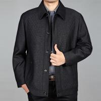 短款中老年夹克男士外套夹克衫纽扣子春装中年男装上衣休闲爸爸装 拉链门襟 001款深灰色