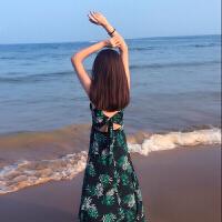 2018新款三亚马尔代夫海边度假沙滩裙女泰国吊带波西米亚长裙连衣裙显瘦 绿色