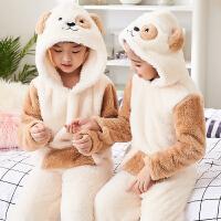 儿童睡衣珊瑚绒秋冬季男童中大女童小孩家居服宝宝套装