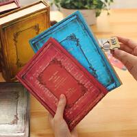 创意盒装密码记事本欧式复古带锁日记本手账本学生笔记本文具礼品