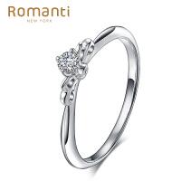 罗曼蒂珠宝白18K金钻戒女款钻石戒指简约时尚女戒对戒 公主系列结婚戒指需定制