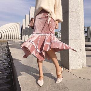 谜秀 半身裙女2017秋装新款韩版修身丝绒不规则中长款裙子春秋潮