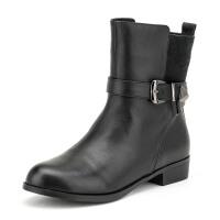 菲伯丽尔 冬新款牛皮圆头低跟短靴女鞋 FB54113837