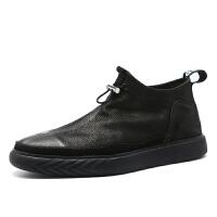 夏季男鞋潮鞋子男韩版潮流百搭秋季男士板鞋潮中高帮皮鞋 黑色