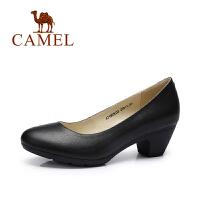 camel骆驼女鞋 舒适职业通勤正装工作鞋 2017春新款 粗跟女皮鞋单鞋