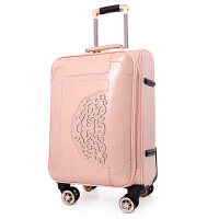 韩版行李箱万向轮皮箱拉杆箱女小清新20寸拉箱学生24寸密码旅行箱 浅粉色 刺绣款