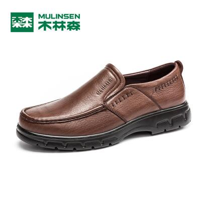 木林森男鞋 秋季商务休闲皮鞋套脚男士牛皮单鞋低帮鞋21531781全场包邮,注意:偏大半码