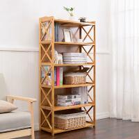 书架 楠竹书架简易置物架实木多层落地儿童学生书柜储物收纳架