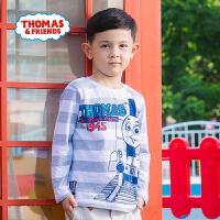 【一件5折】托马斯正版童装男童春装长袖T恤中大童纯棉条纹圆领卡通打底衫