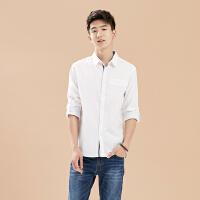 【超级品牌日狂欢延续1件4折到手价:67.6】美特斯邦威长袖衬衫男新款时尚韩版青年男衬衣722259商场同款