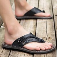 人字拖男2019新款夏季男士皮凉鞋室外个性沙滩凉拖鞋潮流时尚外穿夏季百搭鞋