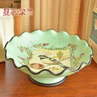 墨菲 欧美乡村彩绘复古陶瓷水果盘 创意现代时尚客厅餐厅干果盘