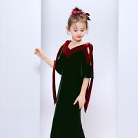 女童秋装丝绒儿童礼服V领走秀表演小主持人钢琴演出服