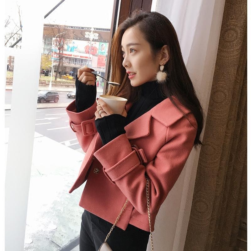 20171128164911738谜秀毛呢外套女短款2017秋冬装新款韩国矮小个子呢子大衣ulzzang翻领短款呢大衣
