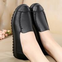平底单鞋妈妈鞋中老年女士软底奶奶鞋大码舒适透气圆头工作鞋