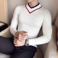 秋冬秋季青年毛衣修身型V领韩版套头长袖常规男士潮针织衫