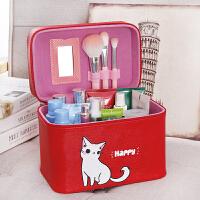 化妆包大号小号大容量防水简约手提化妆箱便携收纳盒学生