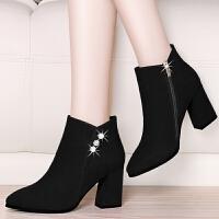 温州高跟短靴女2019秋冬新款中跟粗跟尖头加绒靴子棉鞋冬季女