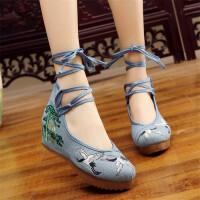 女民族风坡跟内增高跟红色系带古风舞蹈鞋汉服鞋 双鹤 牛仔蓝