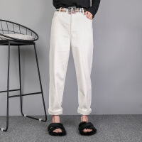 白色灯芯绒裤子女宽松韩版2018新款秋冬季条绒长裤加绒萝卜哈伦裤