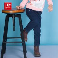 季季乐童装2017冬季时尚女童长裤女小童直筒透气加绒保暖牛仔裤