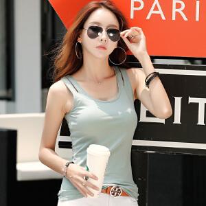 夏季韩版打底无袖吊带衫修身纯色棉质内搭U型工字小背心女