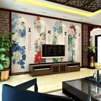 花开富贵牡丹图客厅壁画中式电视背景墙布客厅牡丹花装饰壁画花开富贵壁布电视墙影视墙纸 仅墙纸