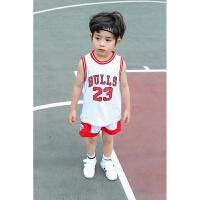 2018夏款男童运动表演服宝宝背心演出服NBA篮球衣儿童套装 23号白色 乔丹