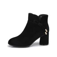 camel骆驼女鞋 秋冬新款 简约优雅高跟短靴 绳结装饰短筒女靴子