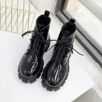 马丁靴女英伦风2019秋冬季新款百搭复古厚底机车靴系带短筒短靴子