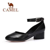 Camel/骆驼女鞋 春夏新款 圆头时尚方跟浅口单鞋女