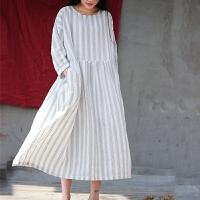 原创18春夏原创设计女装宽松加大码文艺复古竖条纹棉麻旅行连衣裙袍子GH024 白色 条纹 均码
