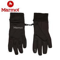 【开学季】Marmot/土拨鼠户外运动男式分指弹力可触屏抓绒保暖手套