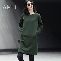 Amii[极简主义]2017秋新通勤全棉圆领插肩袖纯色短连衣裙11740214