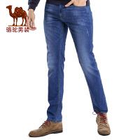 骆驼男装 新款时尚猫须拉链直筒牛仔裤商务休闲长裤子男