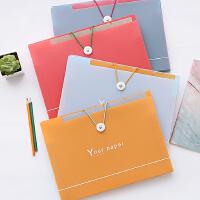 【包邮】三年二班●韩国文具 简约多层搭扣文件夹糖果色文件收纳夹5入/8入