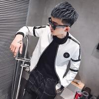 秋季男士皮夹克韩版社会人精神青少年小伙修身皮衣潮流网红款外套