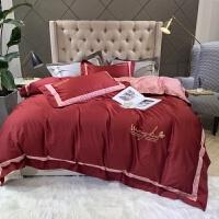 中式结婚床上用品婚庆红色贡缎长绒棉刺绣床品婚礼纯棉四件套新婚