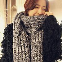 韩版粗毛线围巾女冬季长款加厚学生情侣百搭针织围脖男日系小清新