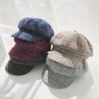 八角帽女格子贝雷帽秋冬鸭舌弯檐报童帽