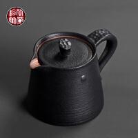 陶瓷小单壶功夫茶具过滤泡茶粗陶滤茶紫砂壶日式茶道黑陶喝茶茶壶