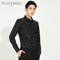 太平鸟男装 黑色修身时尚长袖衬衫撞色几何图休闲衬衣B1CA61406