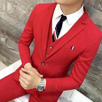 发型师西服套装 大红色西装三件套 结婚礼服新郎西装 伴郎礼服