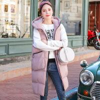 黛熊 加厚孕妇马甲棉衣韩版孕妇装冬装中长款连帽纯色孕妇棉衣K-5510
