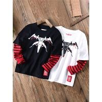 男童长袖t恤纯棉秋季装儿童假两件打底衫上衣秋装