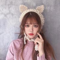 毛线耳罩女冬季保暖可爱猫耳朵耳暖复古针织系带耳包耳套