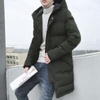 男士棉衣潮青年加厚韩版中长款连帽冬装大衣外套新DJ923T145