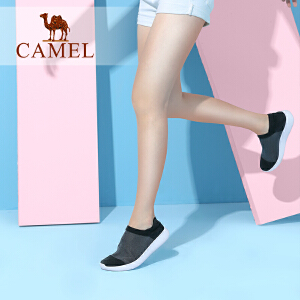Camel/骆驼女鞋 2018春季新品 时尚舒适色彩拼接轻盈休闲袜鞋女